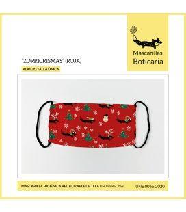 Mascarilla Boticaria Zorricrismas Rojo (Adulto)